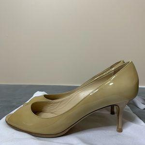 Jimmy Choo Nude Peep Toe Low Heel Patent Shoe 36.5